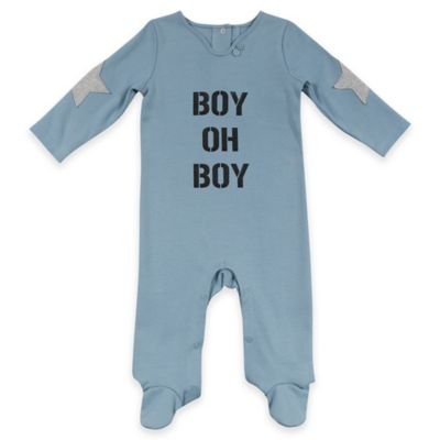 """AMY COE Size 6-9M """"Boy Oh Boy"""" Footie in Blue"""