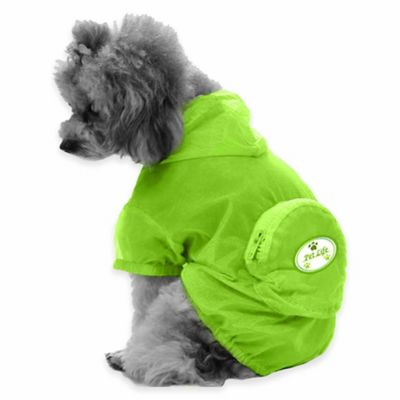 Thunder Paw Extra Small Waterproof Adjustable Zippered Folding Travel Dog Raincoat in Yellow