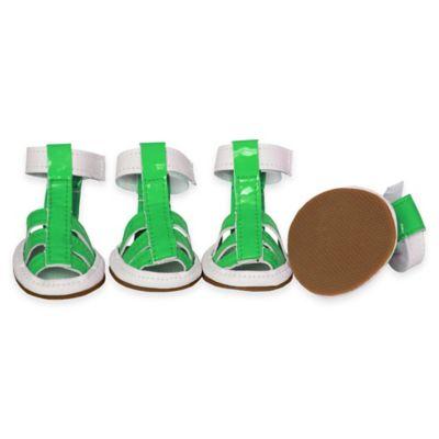 Waterproof Medium Pet Sandals in Neon Green (Set of 4)
