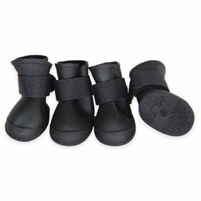 Protective Multi-Terrain Rubberized Small Dog Shoes in Black (Set of 4)