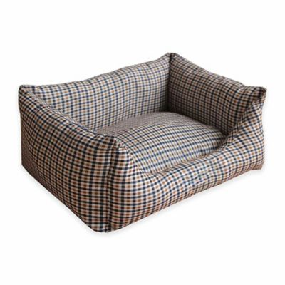 Extra Small Rectangular Dog Bed in Brown/Blue
