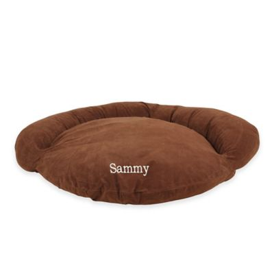 Velvet Microfiber Large Bolster Pet Bed in Caramel