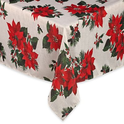 Winter Poinsettia 52-Inch x 70-Inch Tablecloth