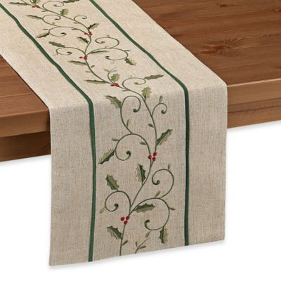 Sam Hedaya Magical Holly 72-Inch x 14-Inch Table Runner