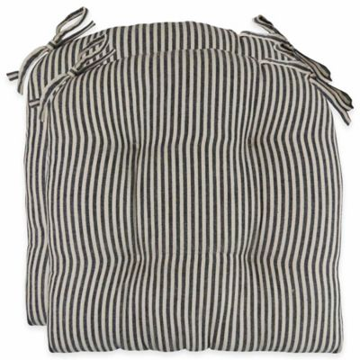 Park B. Smith® Farmhouse Stripe 16-Inch Chair Pads in Black (Set of 2)