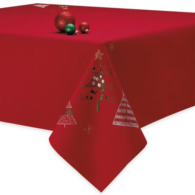 Holiday Embroidered Christmas Trees 52-Inch x 52-Inch Square Tablecloth in Red