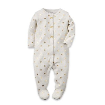 carter's® Size 3M Gold Heart Snap-Front Footie in Ivory