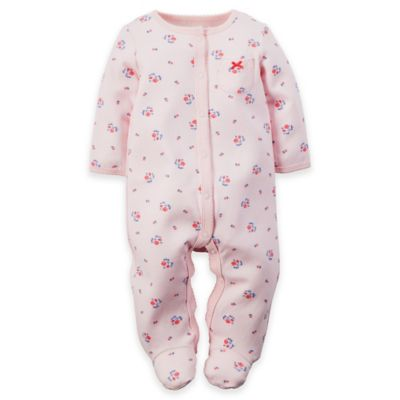 carter's® Size 3M Mini-Floral Snap-Front Footie in Light Pink/Blue