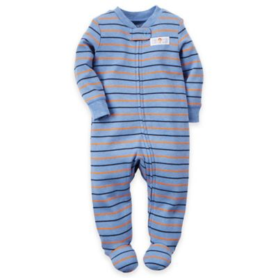 "carter's Newborn ""Dino-mite Little Guy"" Striped Zip-Front Footie in Blue/Orange"