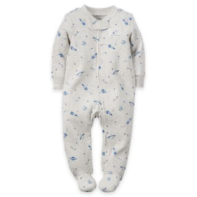 carter's® Newborn Zip-Front Outer Space Footie in Heather Grey/Blue