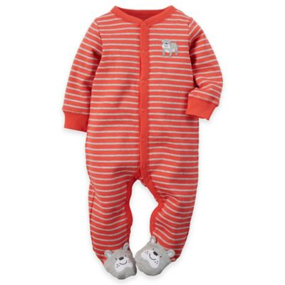 carter's® Newborn Snap-Front Dog Striped Footie in Red/Grey