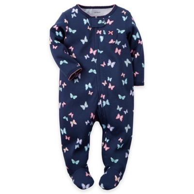 carter's Newborn Zip-Front Butterfly Footie in Navy/Pink
