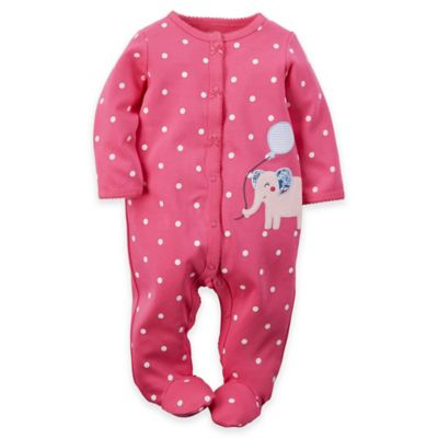carter's® Newborn Snap-Front Elephant Dot Footie in Pink/White