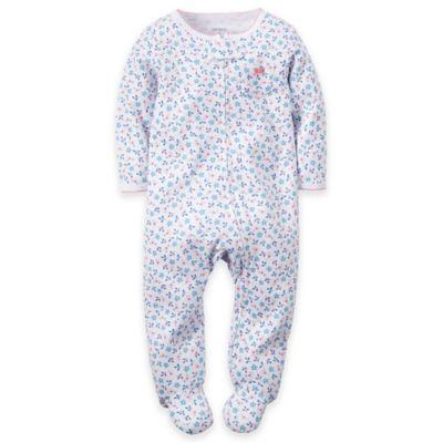 carter's® Newborn Zip-Front Mini-Floral Footie in Blue/Pink