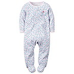 carter's® Size 3M Zip-Front Mini-Floral Footie in Blue/Pink