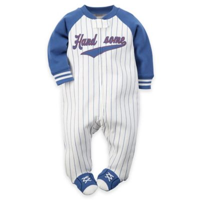 """carter's® Size 3M Zip-Front """"Handsome"""" Baseball Pinstripe Footie in White/Blue"""