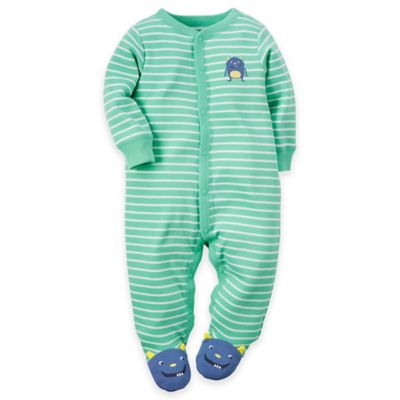carter's Newborn Snap-Front Striped Monster Footie in Turquoise/Navy
