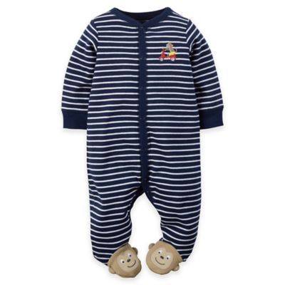carter's® Size 3M Snap-Front Monkey Striped Footie in Navy/White