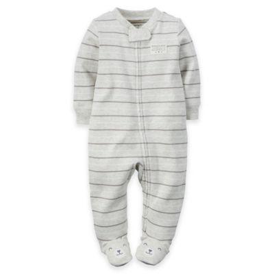 carter's® Newborn Zip-Front Striped Footie in Heather Grey/Beige