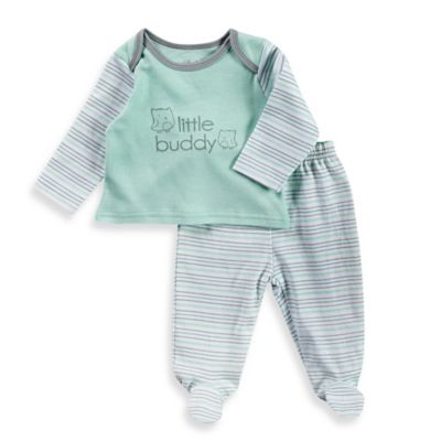 """Sterling Baby Newborn """"Little Buddy"""" 2-Piece Stripe Top and Pant Set in Mint/Grey"""