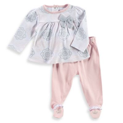 Sterling Baby Newborn 2-Piece Medallion Top and Footed Pant Set in White/Grey/Pink