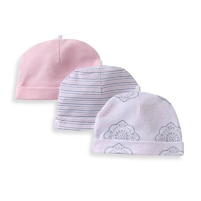 Sterling Baby Newborn 3-Pack of Hats in Pink/Grey/White
