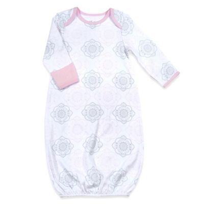 Sterling Baby Newborn Medallion Gown in Pink/Grey