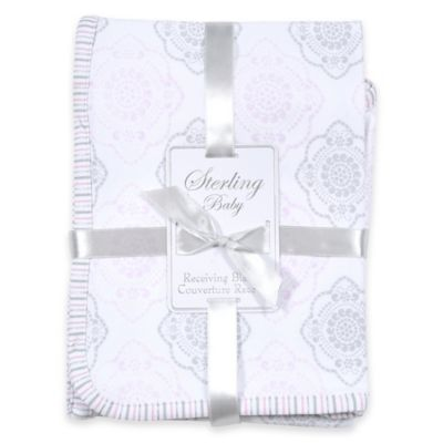 Sterling Baby Medallion Receiving Blanket in White/Pink/Silver