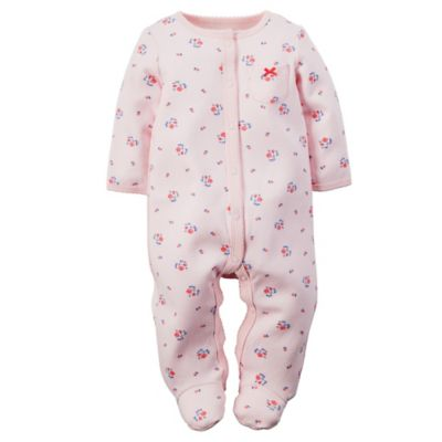 carter's® Preemie Mini-Floral Snap-Front Footie in Light Pink/Blue