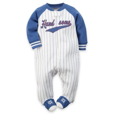 "carter's® Preemie Zip-Front ""Handsome"" Baseball Pinstripe Footie in White/Blue"