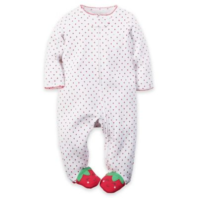 Carter's® Preemie Strawberry Dot Zip-Front Footie in White/Red