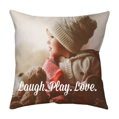 16-Inch Square Dual Sided Photo Faux Down Throw Pillow