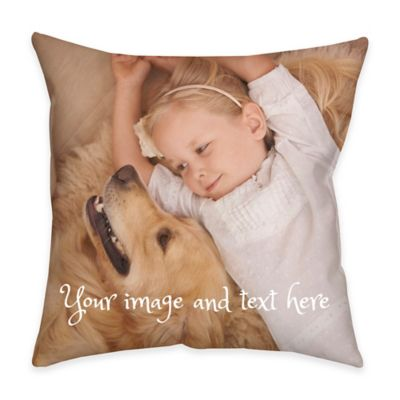 14-Inch Square Dual Sided Photo Faux Linen Lite Throw Pillow