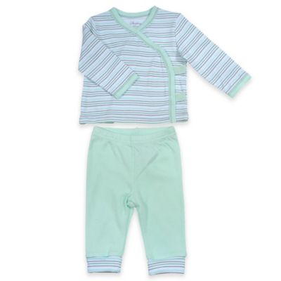 Sterling Baby Newborn 2-Piece Striped Kimono and Pant Set in Green/Grey