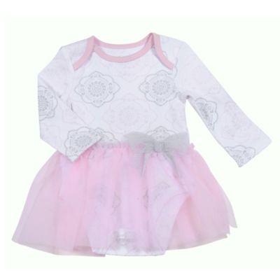 Sterling Baby Newborn Medallion Bodysuit Dress with Tulle Skirt in White/Pink