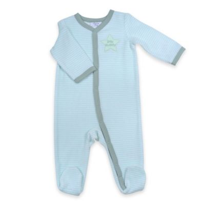 "Sterling Baby Newborn ""Little Buddy"" Striped Snap-Front Terry Footie in Green/Grey"