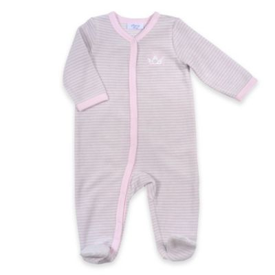 Sterling Baby Newborn Crown Striped Snap-Front Terry Footie in Pink/Grey