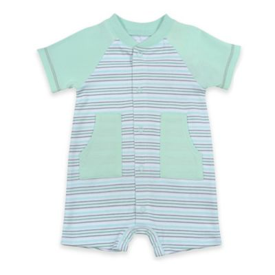 Sterling Baby Newborn Striped Snap-Front Romper in Green