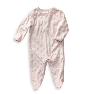 Sterling Baby Newborn Plush Heart Footie in Pink