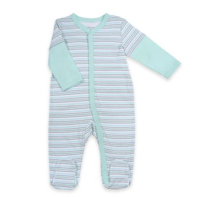Sterling Baby Newborn 2-Fer Style Striped Snap-Front Footie in Green/Grey