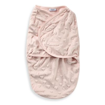 Sterling Baby Size 0-6M Plush Heart Swaddle Bag in Pink