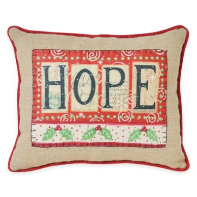 "Victoria Classics Holiday ""Hope"" Burlap Oblong Throw Pillow"