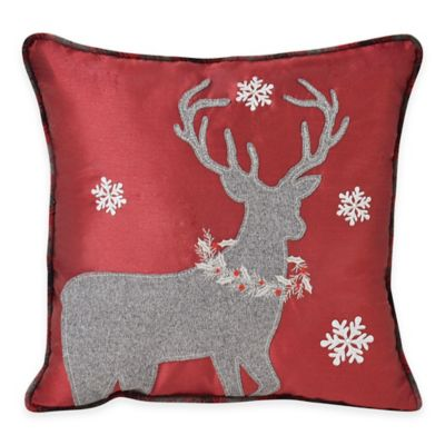 Victoria Classics Holiday Reindeer Square Throw Pillow