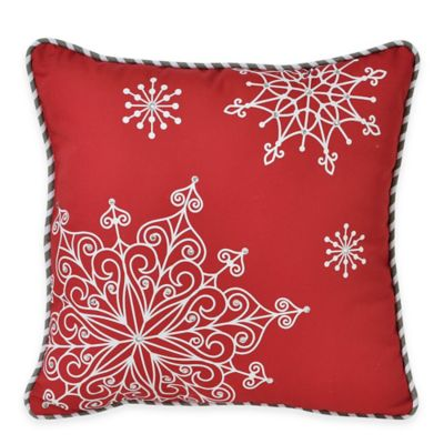 Victoria Classics Holiday Snowflake Crystal Square Throw Pillow