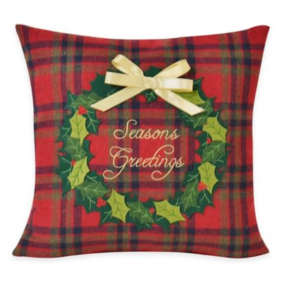 Victoria Classics Holiday Season's Greetings Square Throw Pillow