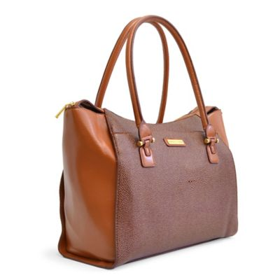 Adrienne Vittadini East West Fashion Stingray Business Tote in Natural