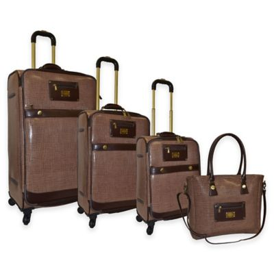 Adrienne Vittadini 4-Piece Faux Leather Luggage Set in Chocolate