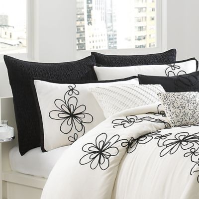 DKNY Metro Floral European Pillow Sham in Black