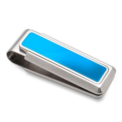 M-Clip Stainless Steel Blue Enamel Inlay Heat Tempered Spring Money Clip