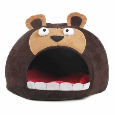 Roar Bear Snuggle Plush Polar Fleece Pet Bed in Dark Brown